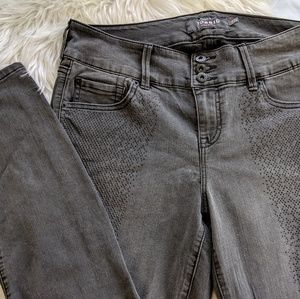 Black rhinestone embellished stretch jeggings